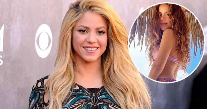 Shakira Slaying Purple Bikini  She Designed While Posing In Beach