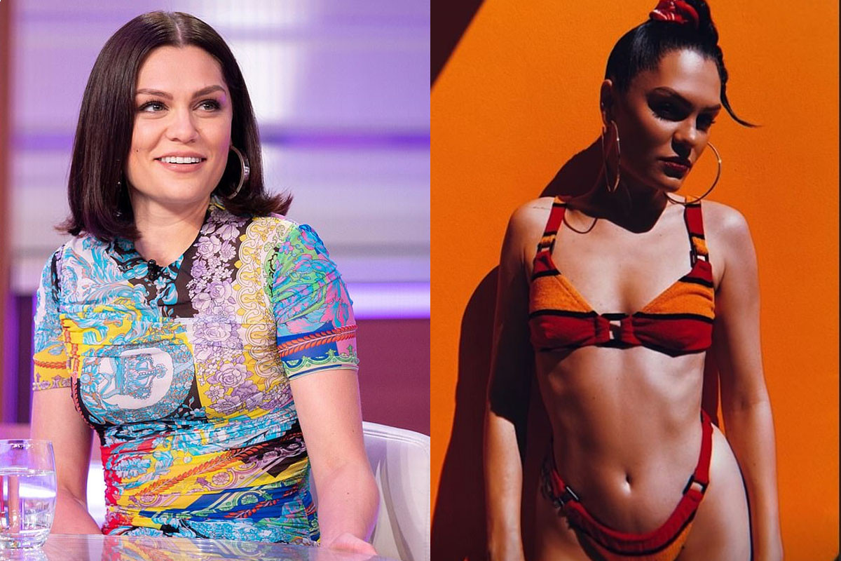 Jessie J sends temperatures soaring as she showcases her toned figure in red striped bikini