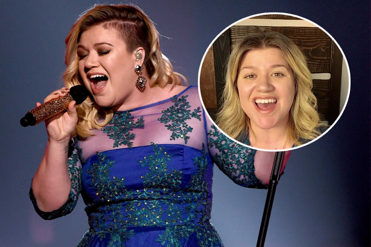Kelly Clarkson sings the national anthem prior to what was to be the NASA-Space X collaboration