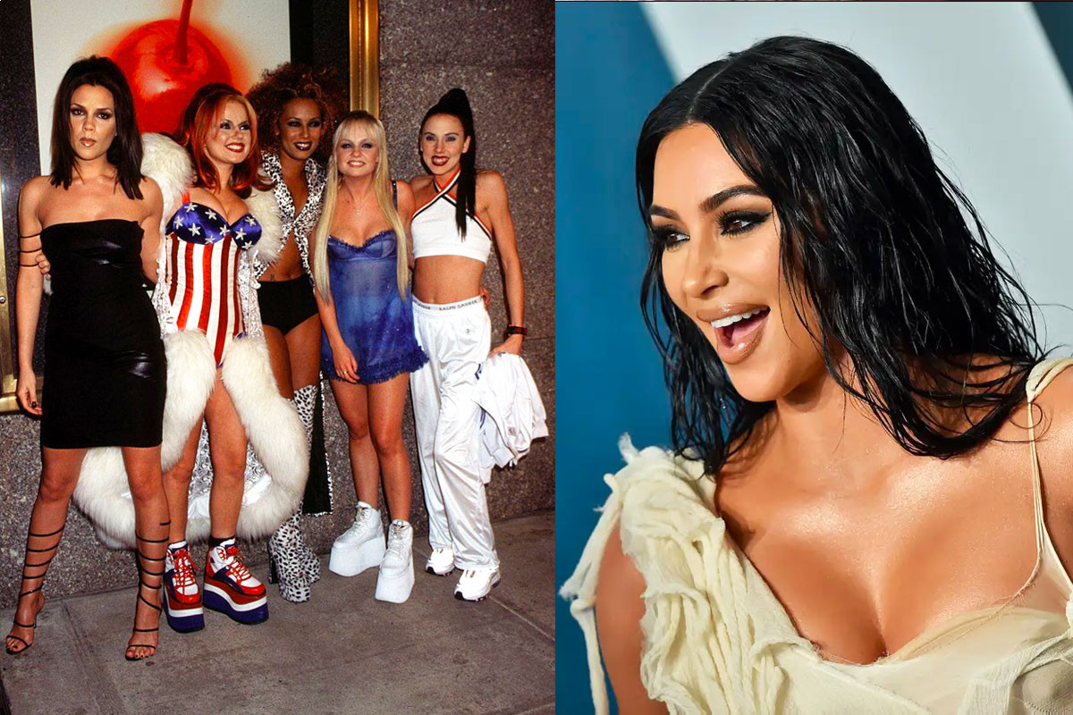 "Kim Kardashian takes ""Spice Girls"" group pose with her sisters"