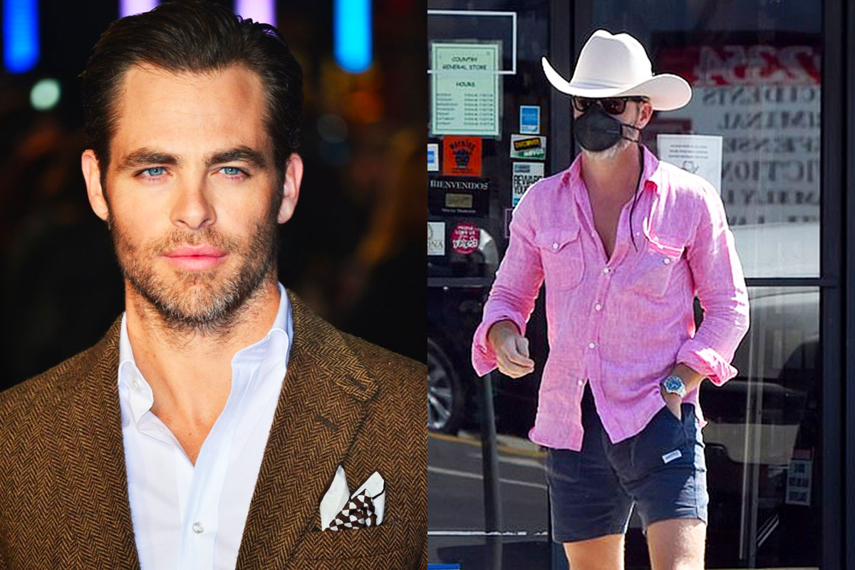 Chris Pine rocked country style with cowboy hat and pink shirt
