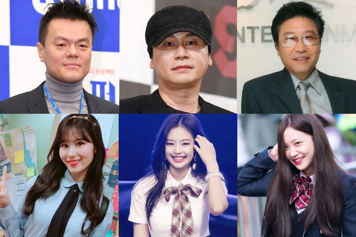 JYP Entertainment, SM Entertainment, and YG Entertainment