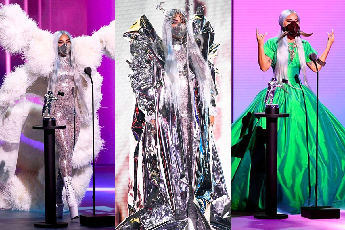Lady Gaga Wearing Mask Onstage Winning 5 Awards At 2020 VMA