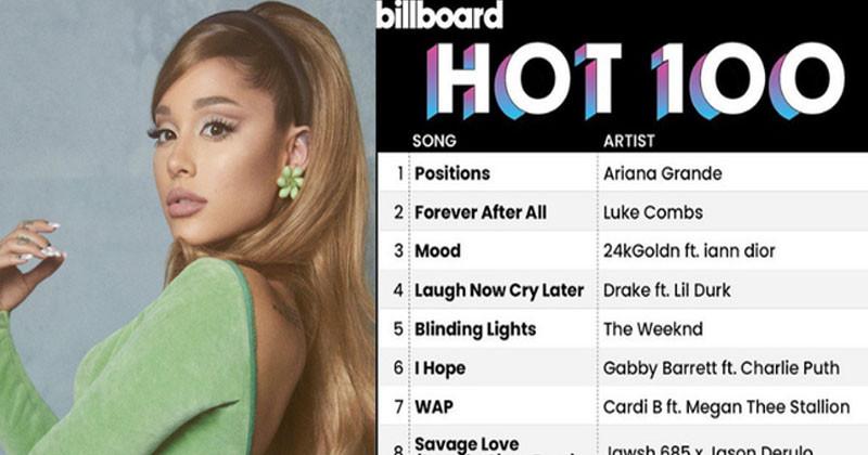 Ariana Grande's Positions Debut # 1 Billboard Hot 100 Makes History