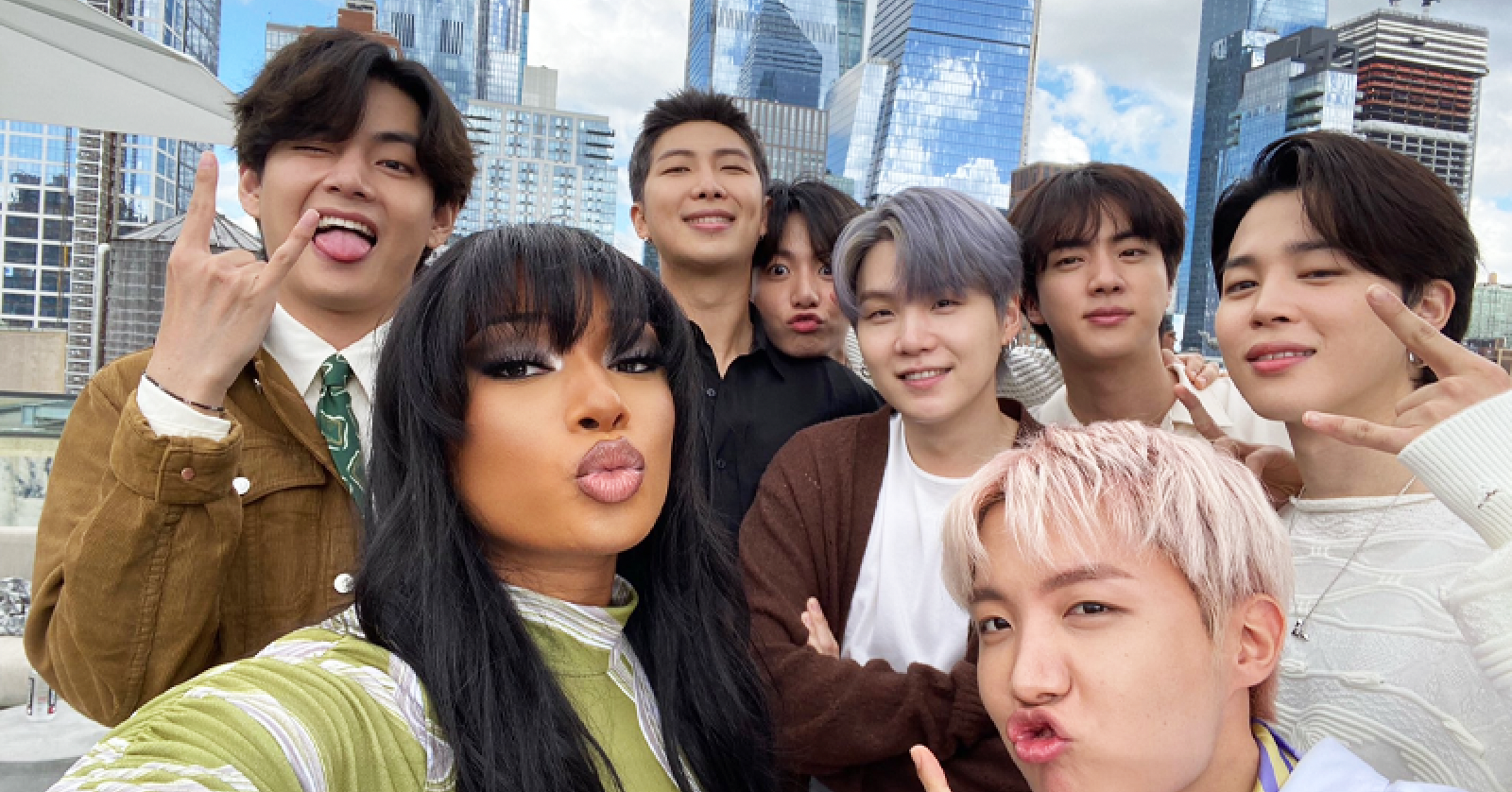 BTS Snaps Photos with 'Hot Girl Coach' Megan Thee Stallion in New York
