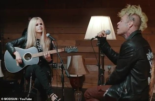 'Special song': Last month, Lavigne and Mod Sun released a visual for the acoustic version of their emotional ballad Flames which is featured on his album Internet Killed the Rockstar.